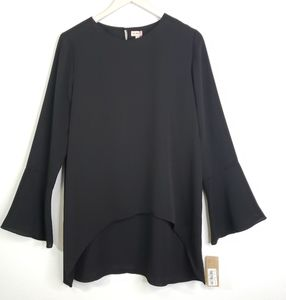 Cremieux Bell Sleeve Hi Low Tunic Top Blouse
